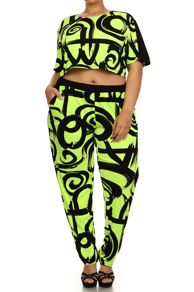 Plus Size Loud 2 Piece Cropped Top & Joggers Pants