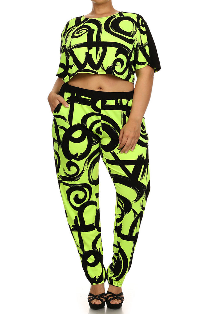 Plus Size Mod Art Vibrant Two Piece Set