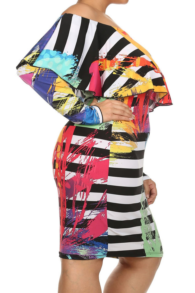 Plus Size Off Shoulder Abstract Stripe Dress