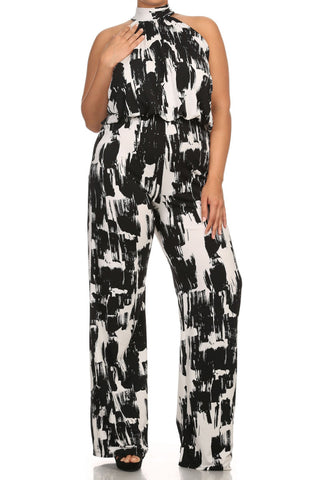Abstract Sleeveless Wide Leg Plus Size Jumpsuit