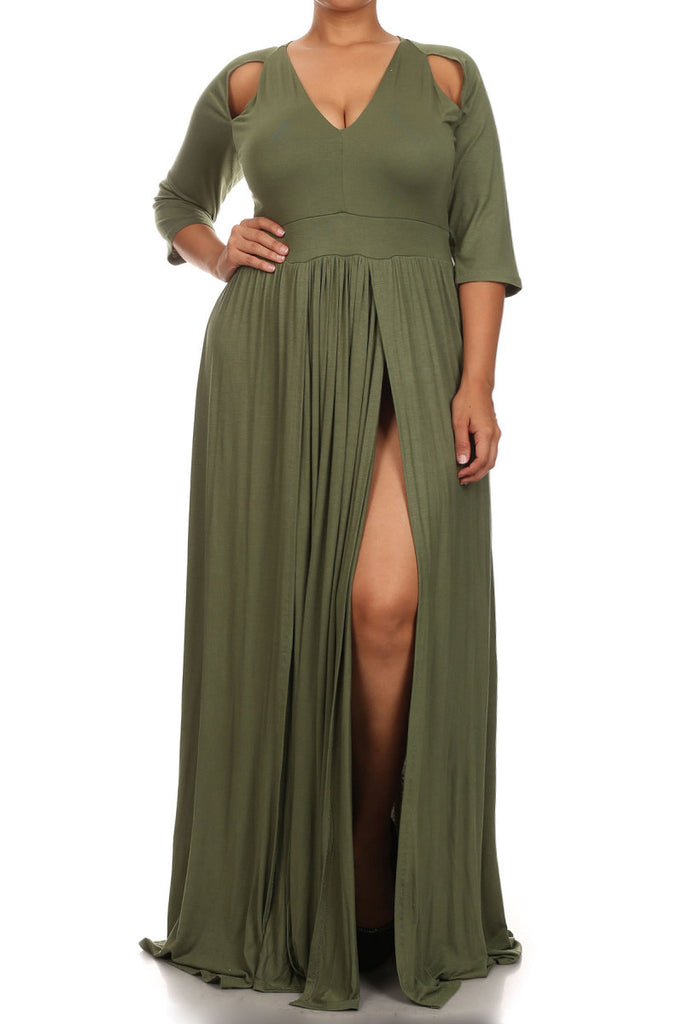 Plus Size Solid Cut Out Shoulder Slit Maxi