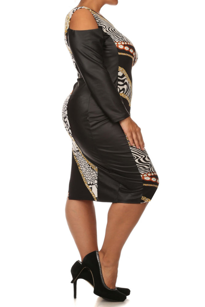 Plus Size Leather Cutout Sleeve Animal Print Dress