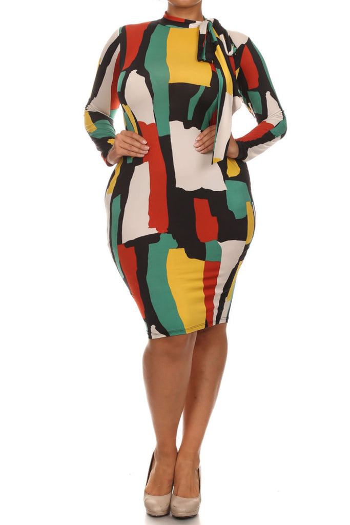 Plus Size Neck Tie Abstract Abstract Art Dress