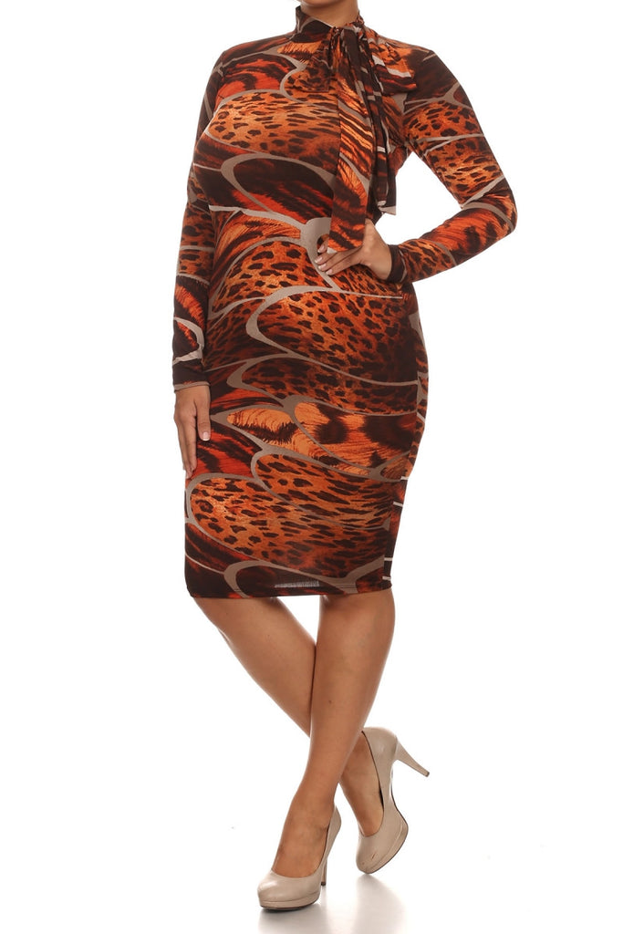 Plus Size Neck Tie Abstract Animal Print Dress