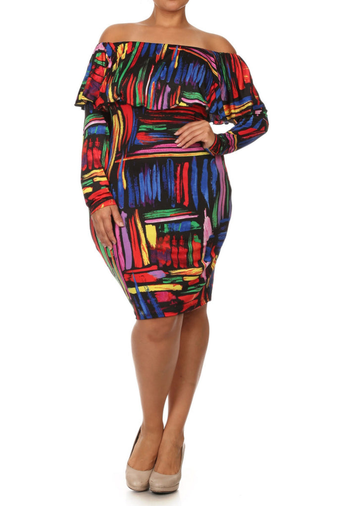 Plus Size Abstract Painting Off Shoulder Dress