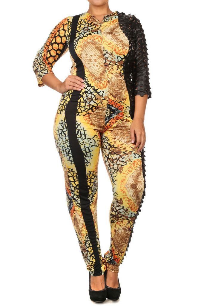 FIERCE Leather Sleeve Sexy Plus Size Jumpsuit