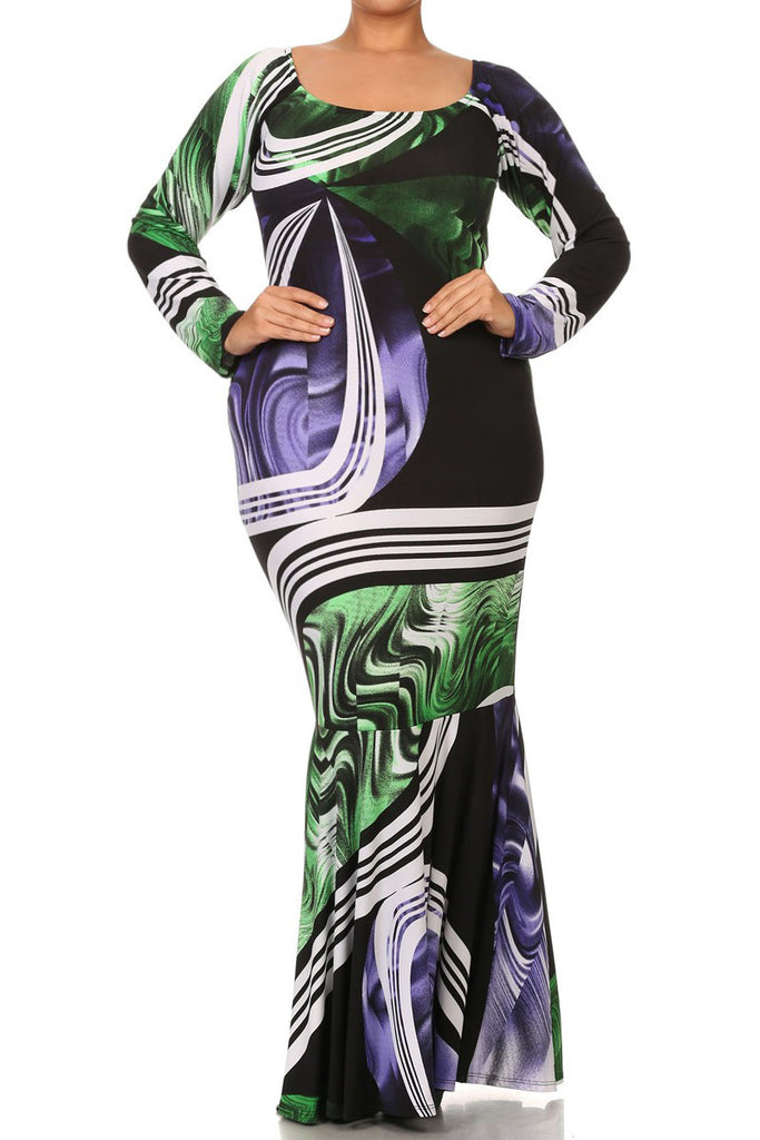 Plus Size Abstract Mermaid Silhouette Maxi Dress