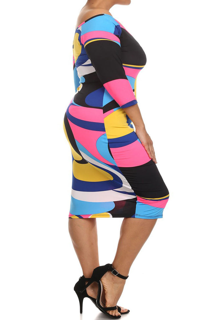 Plus Size Colorful Abstract Bodycon Boat Neck Dress