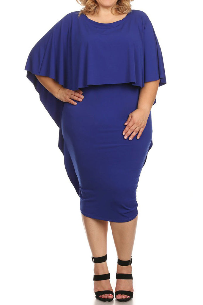 Plus Size Sexy Caplet Overlay Midi Dress