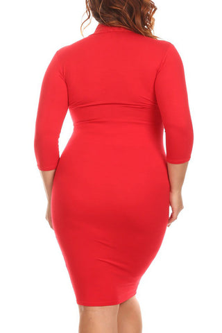 Plus Size Solid 3/4 Sleeve Midi In A Body-con Style With A Neck Dress
