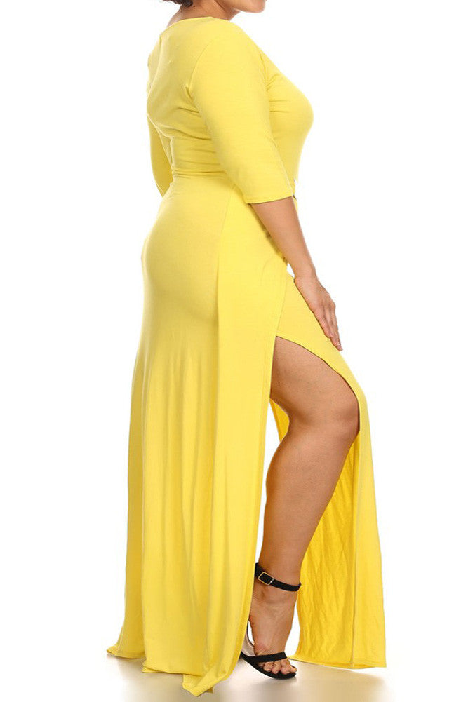 Plus Size Designer Open Slit Waist Buckle Dress