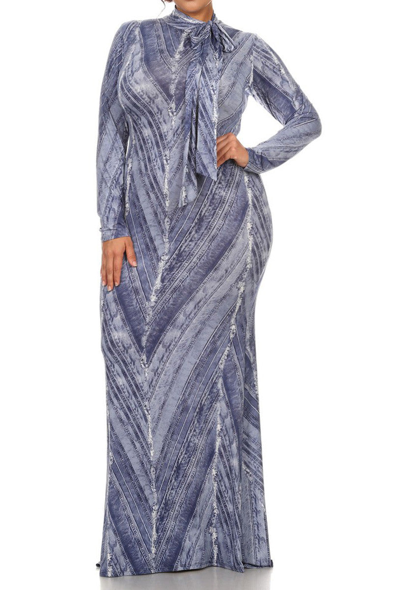 Denim Print Bow Neckline Plus Size Maxi Dress