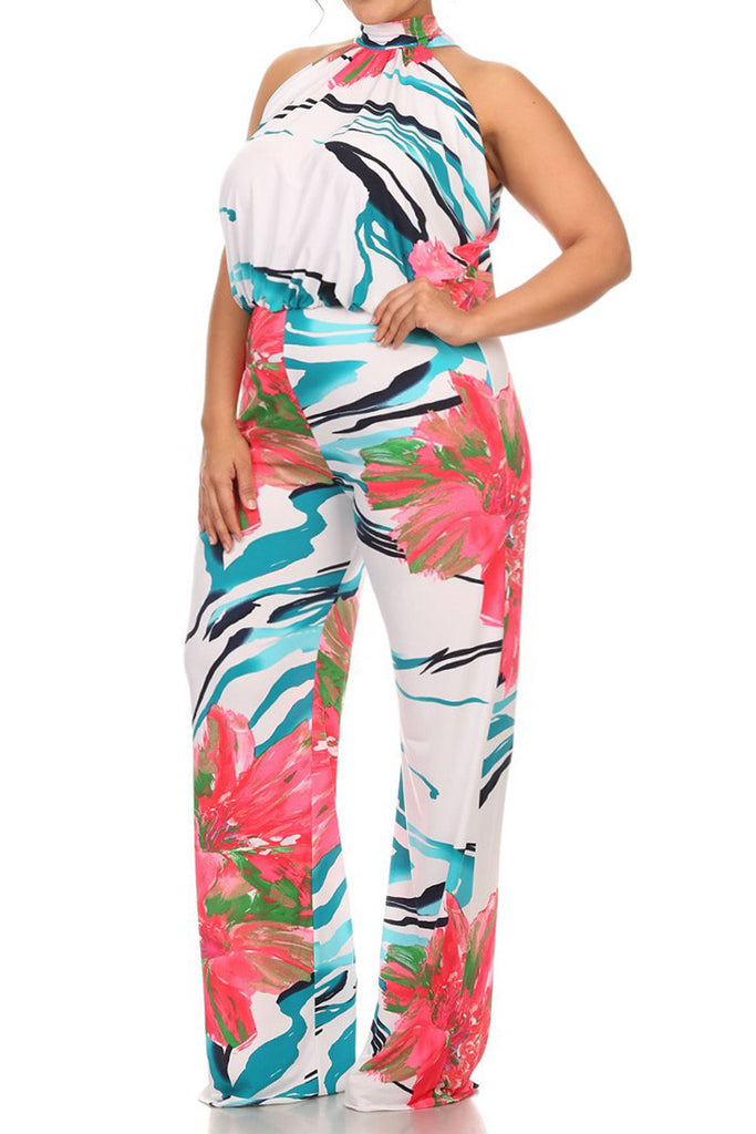 Plus Size Beautiful Sleeveless Floral Wave Jumpsuit
