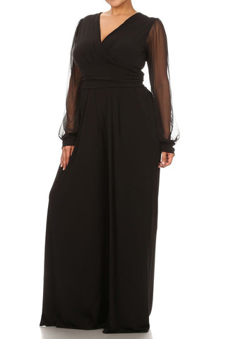 Plus Size See Through Chiffon Sleeve Relaxed Fit Jumpsuit
