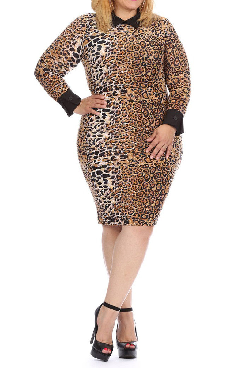 Collared Cheetah Work & Play Plus Size Dress