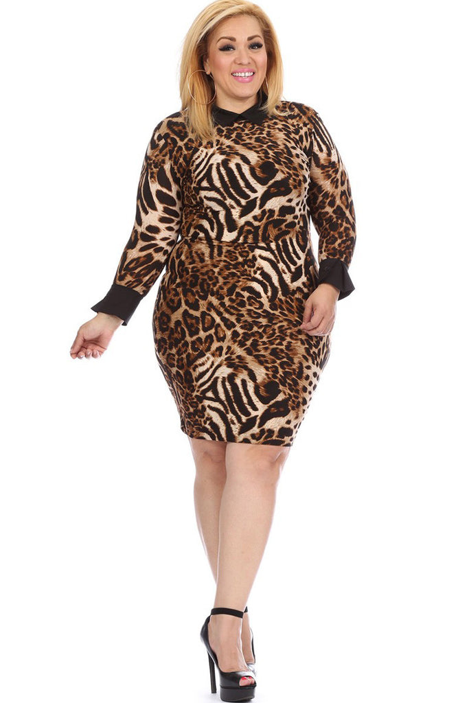 Plus Size Sexy Collared & Cuffed Leopard Print Dress