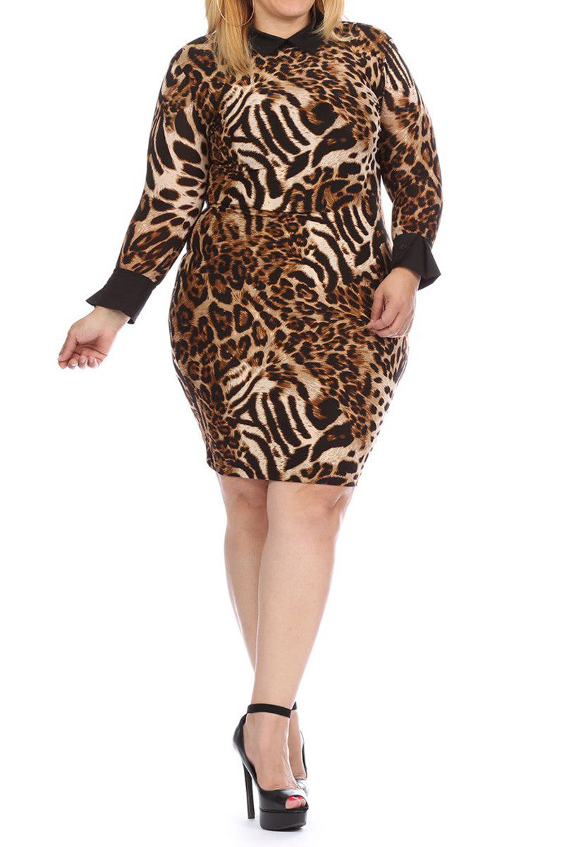 Collared Leopard Work & Play Plus Size Dress