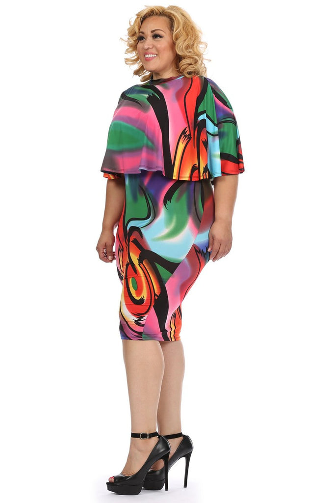 Plus Size Sexy Abstract Two Piece Midi Dress