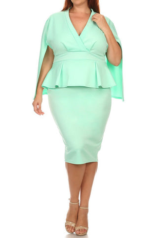 V-Neck Front Cape Peplum Plus Size Dress