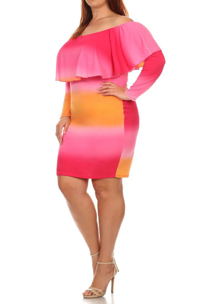 Plus Size Summer Off Shoulder Sunset Dress