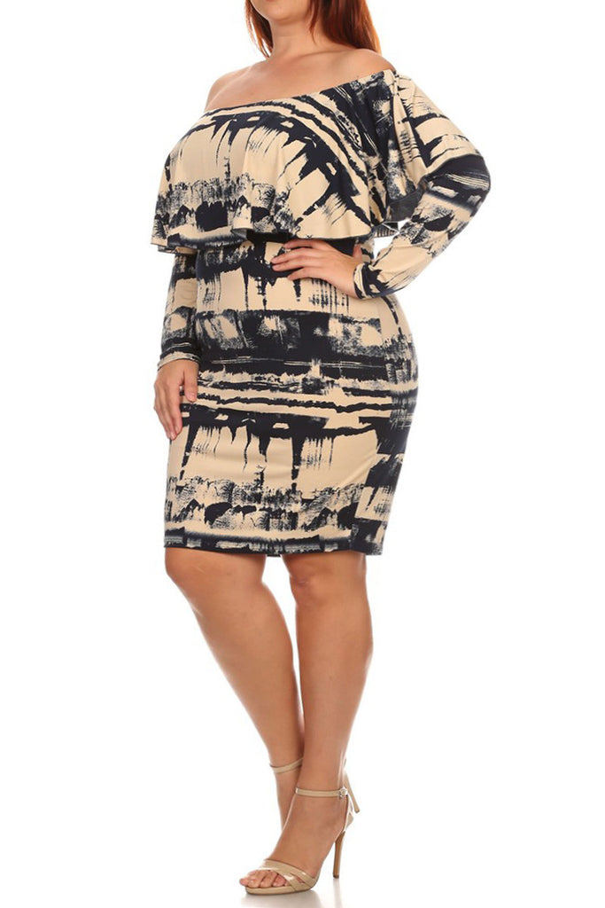 Plus Size Sexy Tie Dye Off Shoulder Dress