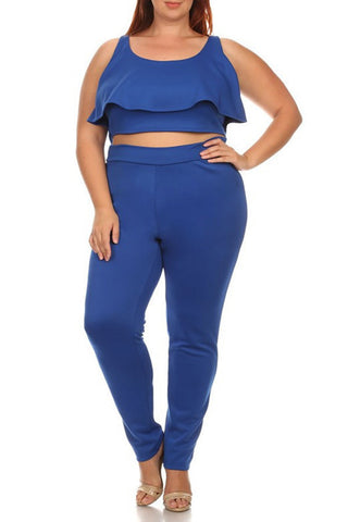 Plus Size Solid 2-piece Top And Pants Set In A Fitted Style