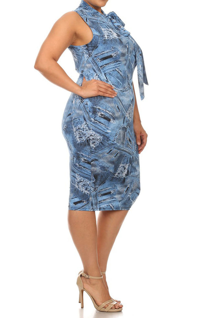 Plus Size Neck Tie Designer Denim Graphic Dress