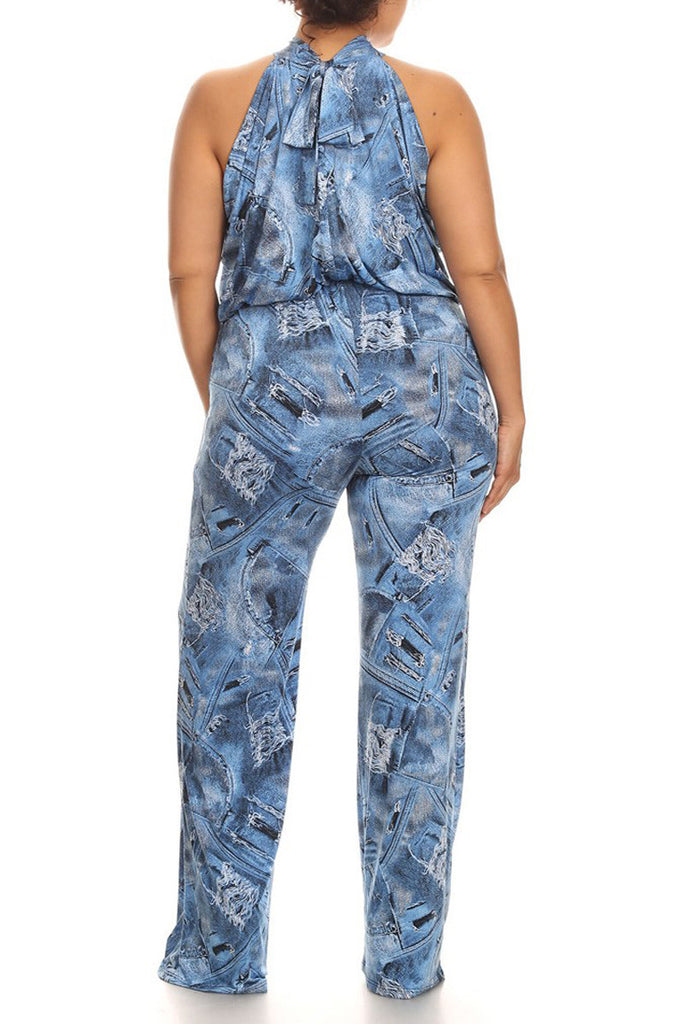 Plus Size Denim Print Sleeveless Relaxed Fit Wide Leg Jumpsuit