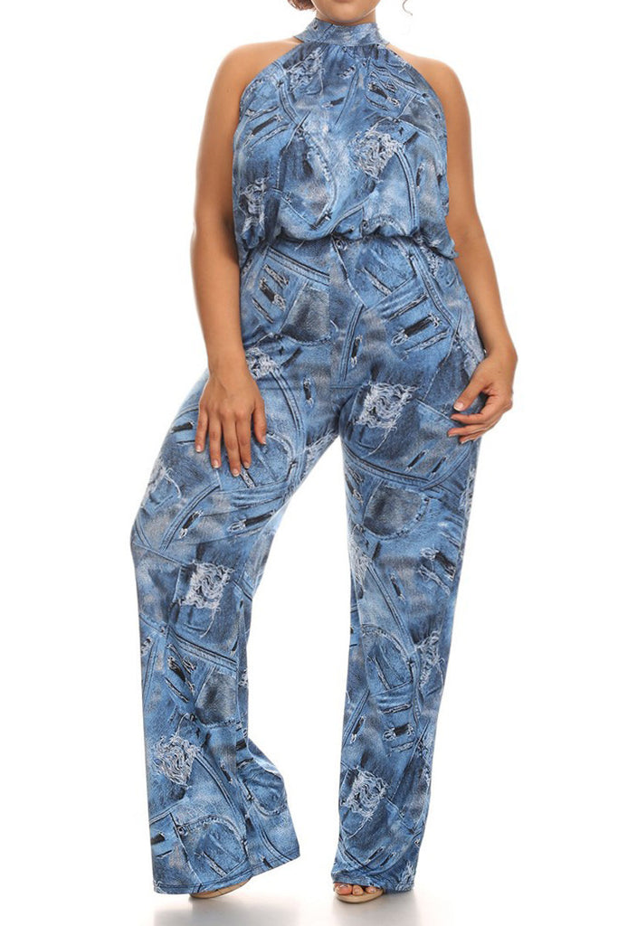 cf824996b40 Plus Size Hollywood Denim Jumpsuit – Plussizefix