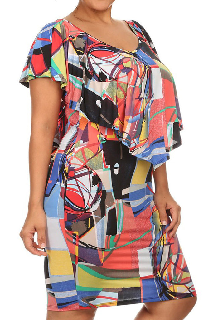 Plus Size Abstract Ruffled Overlay Body-con Dress