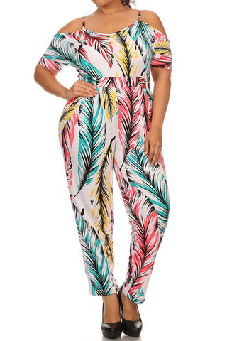 Plus Size Off Shoulder Cute Feather Jumpsuit