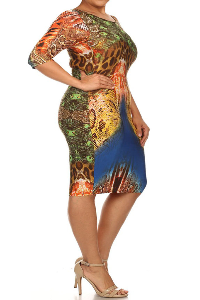 Animal Print Abstract Sexy Bodycon Plus Size Dress