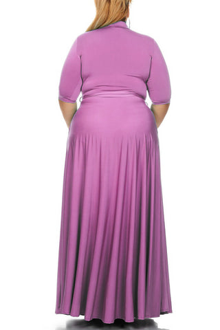 Plus Size Solid Poly Stretch Wrap A-Line Maxi Dress