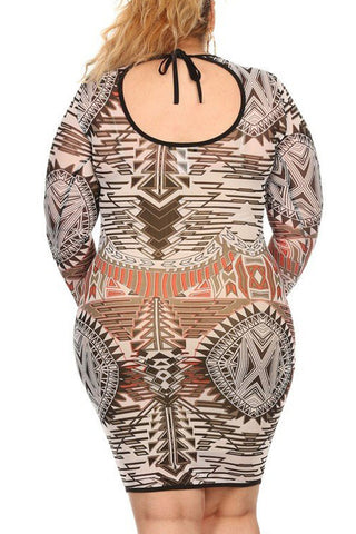 Plus Size Abstract Geometric Pattern Printed Mesh Body Con Dress - Rust