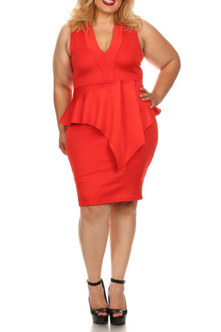 Plus Size Solid Sleeveless Short Dress In A Body-con Style