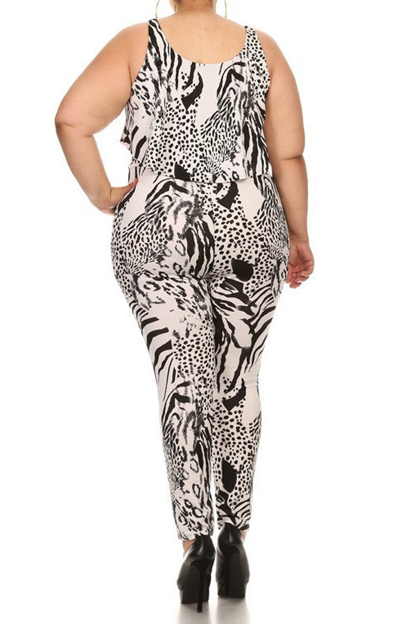 Plus Size Layered Abstract Animal Printed Body Con - B&W