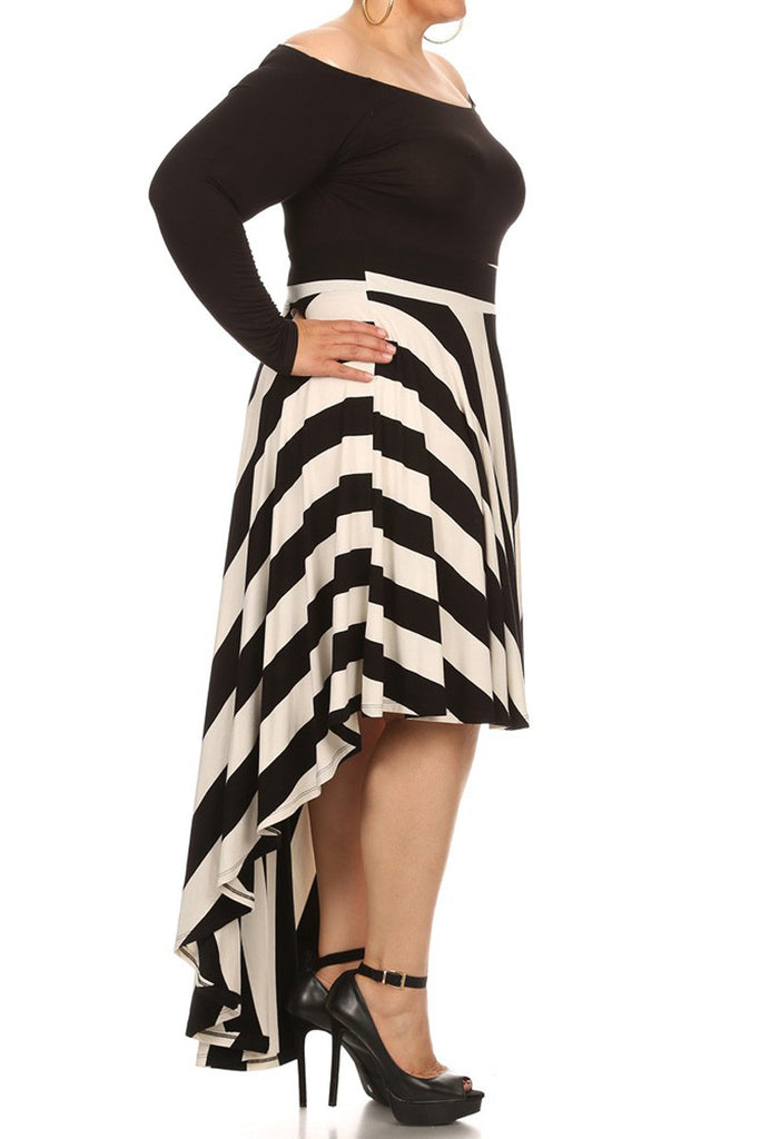 Plus Size Striped Dip Hem Off The Shoulder Dress