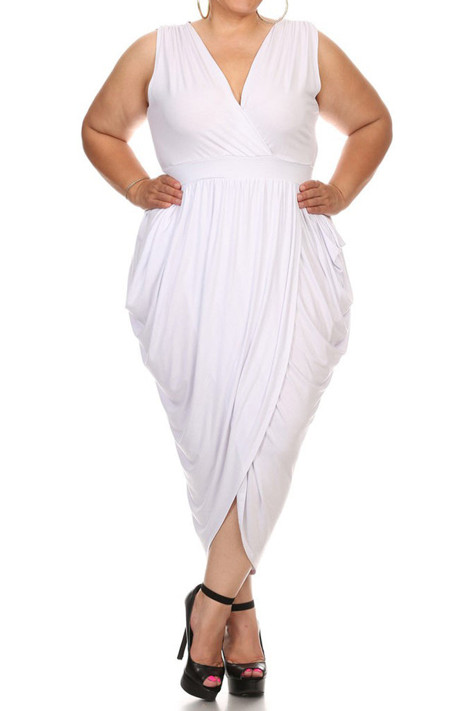 f6b0b3f44e314 Tulip Skirt Surplice Neckline Plus Size Midi Dress – Plussizefix
