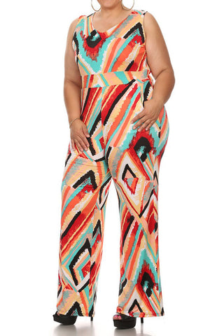 Plus Size Sleeveless Jumpsuit V-neck Side Pockets And Wide Legs