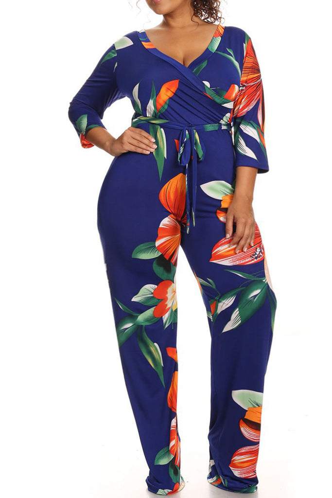 Fall Floral Print Plus Size Jumpsuit