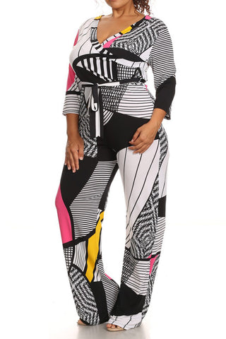 Vivid Abstract Print Plus Size Jumpsuit