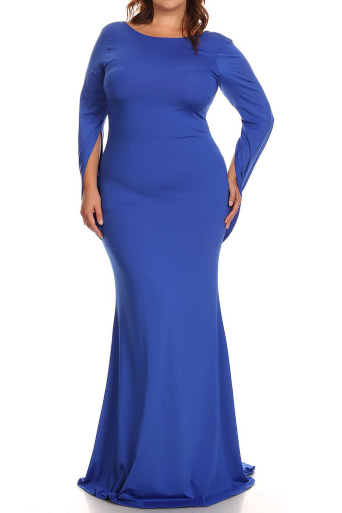 Elegance Connected Sleeve Maxi Plus Size Dress