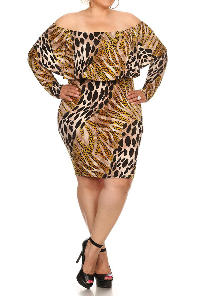 b76b3c7106f Wild Heart Leopard Print Off Shoulder Plus Size Dress – Plussizefix