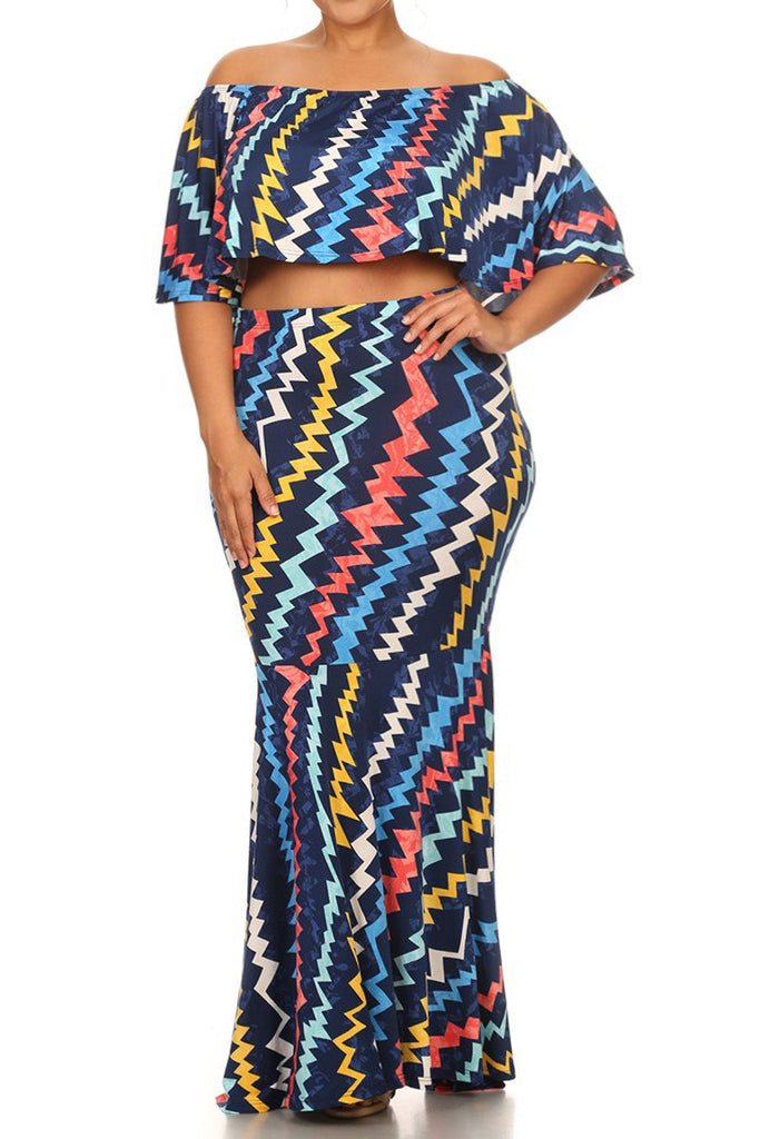 Vivid Zigzag Print Crop Top Plus Size Maxi Skirt Set