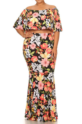 Plus Size Orange Blossom Two Piece Skirt Set