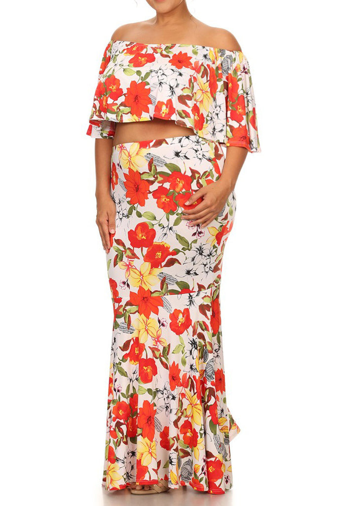 c56c013d02638 Plus Size Orange Blossom Two Piece Skirt Set – Plussizefix