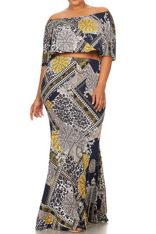 Plus Size Off Shoulder Tapestry 2 Piece Maxi Skirt Set