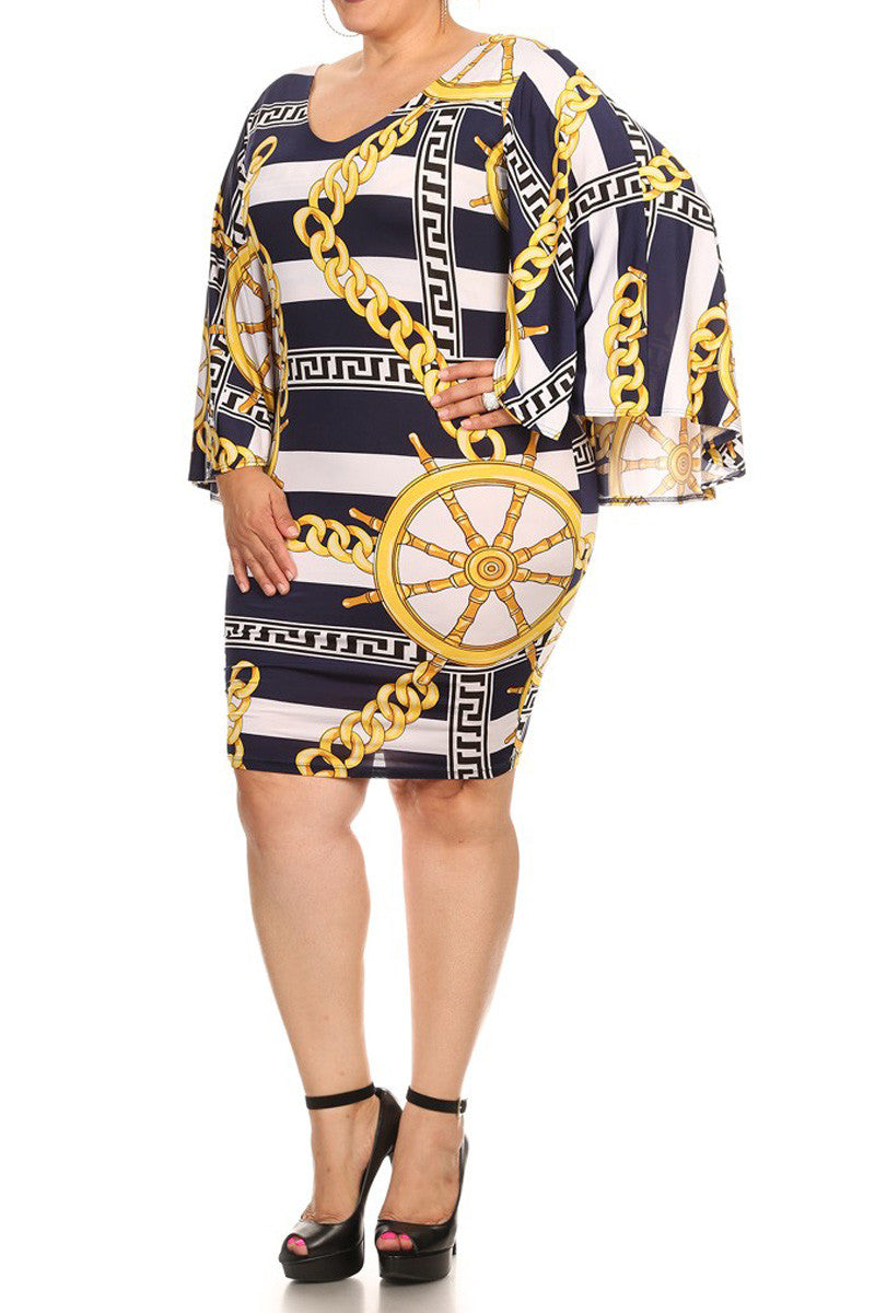 Bell Sleeves Nautical Chain Print Plus Size Dress
