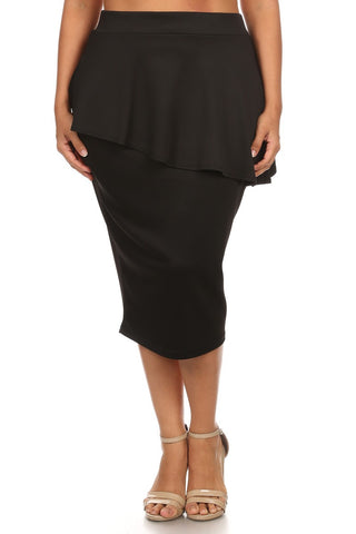 Plus Size Solid Techno Ruffled Pencil Skirt