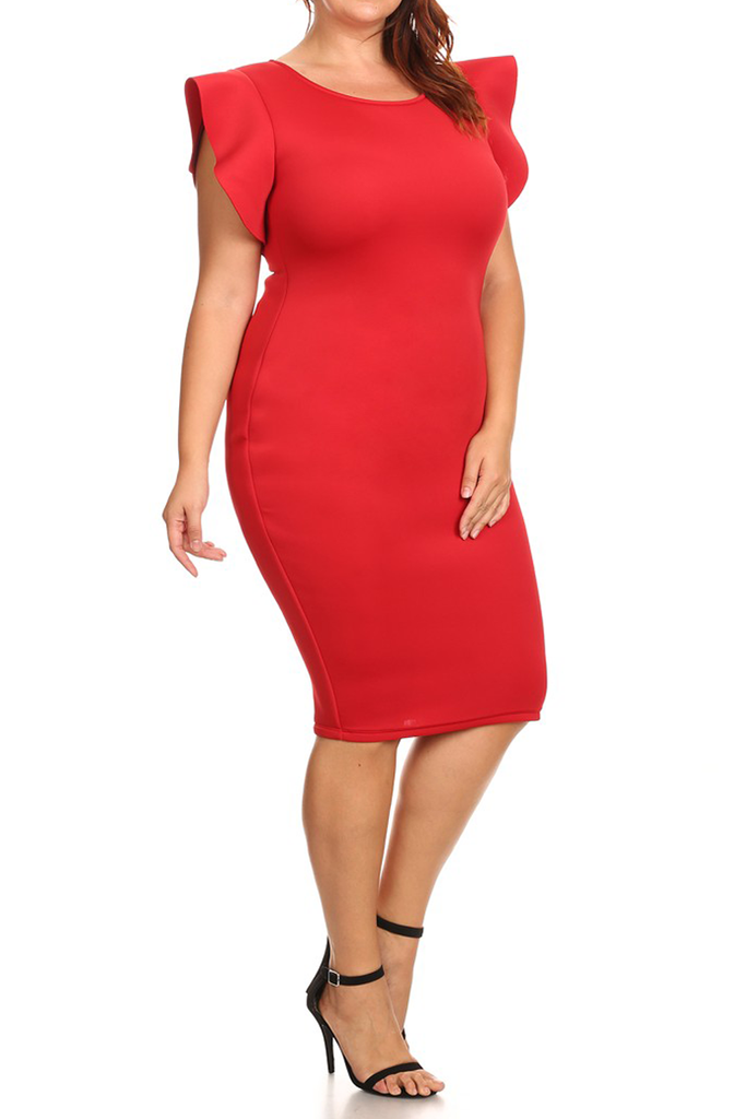 Solid Flutter Sleeve Zip Up Plus Size Dress